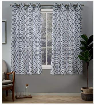 Helena Exclusive Home Printed Sheer Grommet Top Curtain Panel Pair