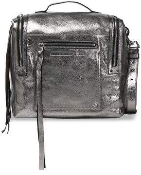 McQ Convertible Metallic Cracked-Leather Backpack