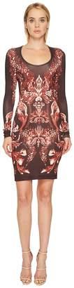 Just Cavalli Plume of Baroque Printed Long Sleeve Scoop Neck Dress Women's Dress