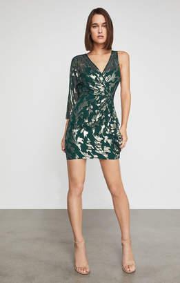 BCBGMAXAZRIA Metallic Faux Wrap Dress