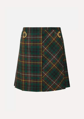 Burberry Pleated Tartan Wool Mini Skirt - Green