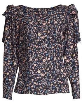 Rebecca Taylor Vivanna Floral Silk Long-Sleeve Top