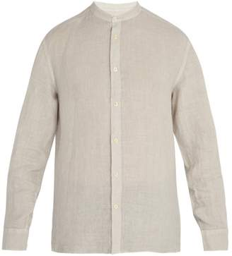 120% Lino Long Sleeved Linen Shirt - Mens - Light Grey