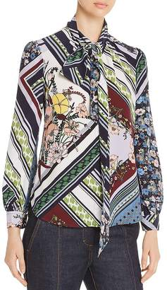 Tory Burch Printed Silk Tie-Neck Blouse