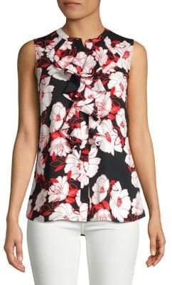 Karl Lagerfeld Paris Sleeveless Ruffle-Front Blouse