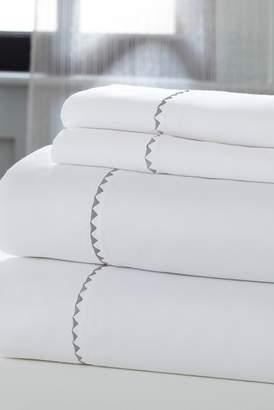COLONIAL HOME TEXTILES California King Sheets - 4 Piece Set - White\u002FSilver