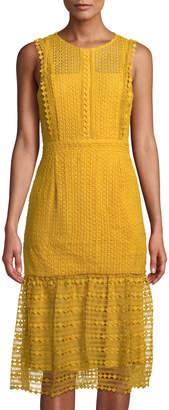 Tahari ASL Luna Geometric-Lace Midi Dress