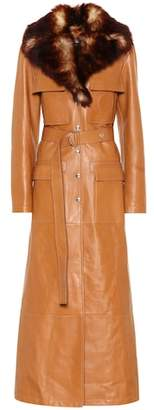 Chloé Faux fur-trimmed leather coat