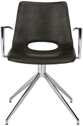 Safavieh Dawn Midcentury Modern Leather Swivel Dining Arm Chair