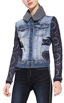 Desigual Women's Exotic Crochet Woman Denim Jacket