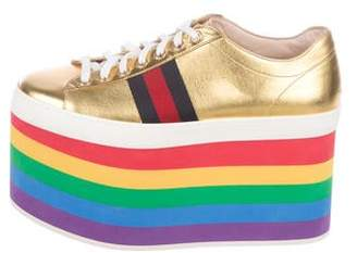 Gucci 2017 Peggy Metallic Leather Flatform Sneakers