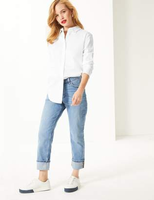 Marks and Spencer PETITE Cotton Rich Long Sleeve Shirt