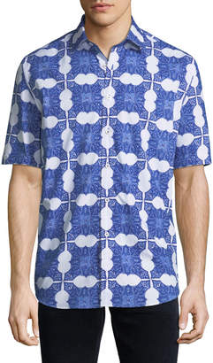 Bugatchi Men's Shaped-Fit Short-Sleeve Printed Button-Front Shirt