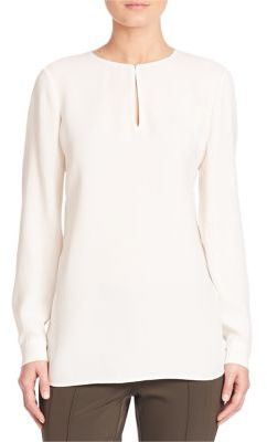 Lafayette 148 New York Silk Double Georgette Cryus Blouse $448 thestylecure.com