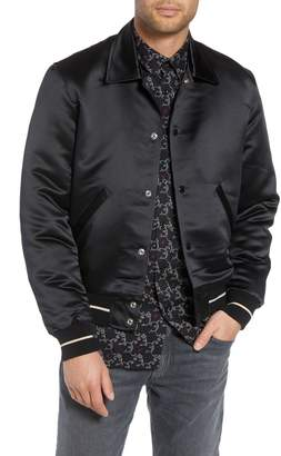The Kooples Regular Fit Satin Bomber Jacket