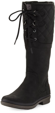 UGG UGG Elsa Deco Quilted Waterproof Boot, Black