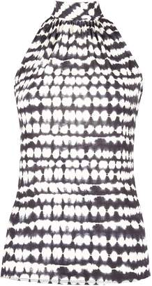 Dorothy Perkins Womens Black And White Tie Dye Halter Neck Top