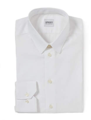 Armani Collezioni White Slim Fit Solid Dress Shirt
