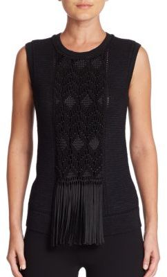Ralph Lauren Collection Fringe-Detail Embroidered Silk Knit Shell