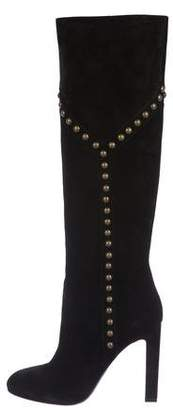 Saint Laurent Suede Knee-High Boots w/ Tags