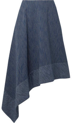 ADAM by Adam Lippes Asymmetric Striped Cotton Midi Skirt - Navy