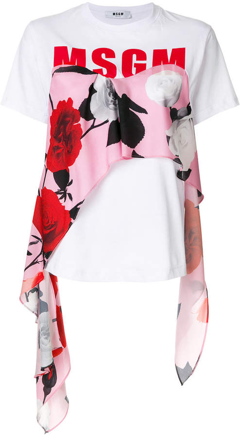 MSGM draped floral T-shirt