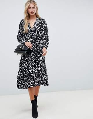 Asos Design DESIGN collar detail midi dress in mono leopard print with long sleeves