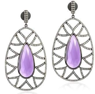 18K Gold & Sterling Sliver Amethyst & Diamonds Earrings