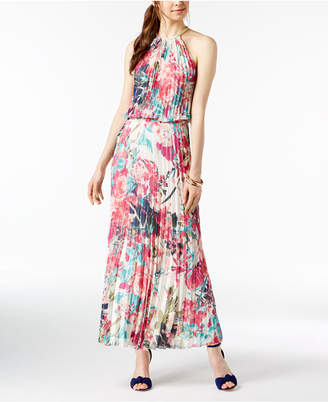 MSK Pleated Blouson Halter Gown