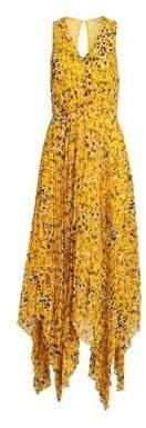 Derek Lam 10 Crosby Women's Sleeveless Animal Print Pleated Dress - Marigold Multi - Size 0