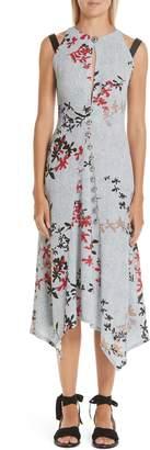 Yigal Azrouel Decoupe Floral Print Crepe Dress