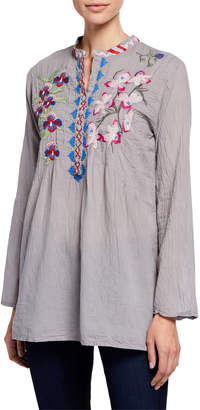Johnny Was Tropical Garden Floral Embroidered Tunic