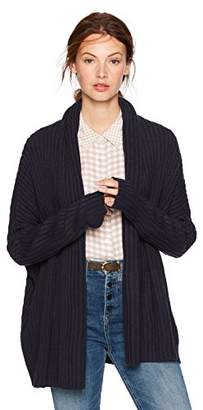 Cable Stitch Women's Long-Sleeve Rib-Knit Cardigan with Thumbhole