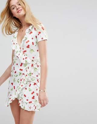ASOS Mini Frill Wrap Dress In Cherry Print $40 thestylecure.com