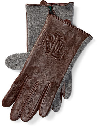 Ralph Lauren Two-Tone Touch Screen Gloves $60 thestylecure.com