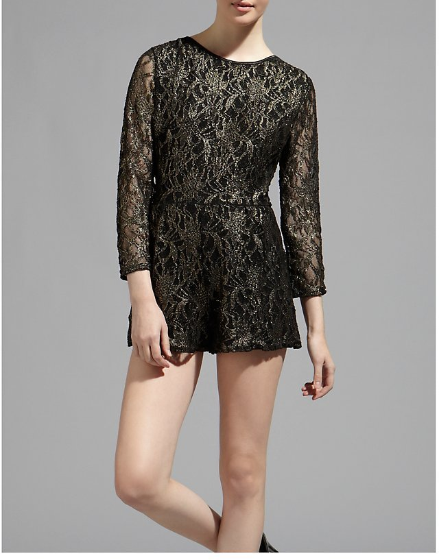 Ribbon Luxe Gold Lace Playsuit