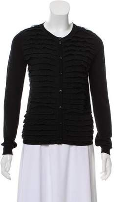 RED Valentino Lace-Trimmed Rib Knit Cardigan