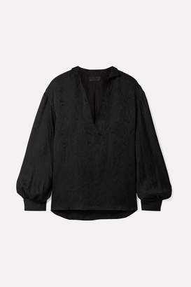 Nili Lotan Joey Silk-satin Jacquard Blouse - Black