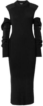 Calvin Klein Cold-shoulder Open-back Ribbed Cotton-blend Midi Dress