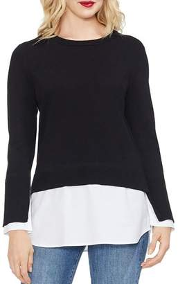Vince Camuto Layered Look Crewneck Sweater