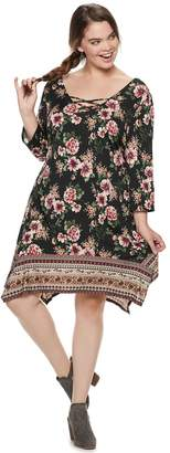 Juniors' Plus Size Three Pink Hearts Floral Strappy Swing Dress