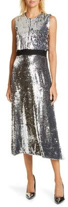 Stella McCartney Popover Sequin Silk Midi Dress