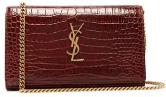 Saint Laurent Kate Mini Crocodile Effect Leather Cross Body Bag - Womens - Dark Brown