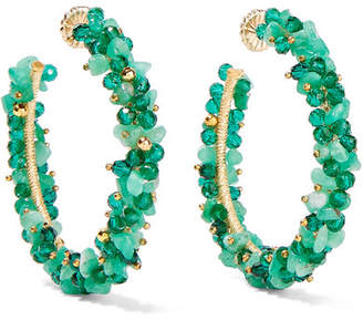 Swarovski Bibi Marini Baru Gold-plated, Emerald And Crystal Hoop Earrings