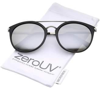 Zerouv Modern Double Bridge Colored Mirror Lens Round Aviator Sunglasses 57mm (Shiny Black-Silver/Silver Mirror)