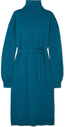 Tibi Merino Wool Turtleneck Midi Dress - Petrol