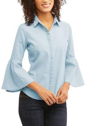 Generic Women's Bell Sleeve Button Up Shirt