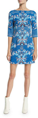 Peter Pilotto 1/2-Sleeve Floral Print Waffle-Knit Mini Dress