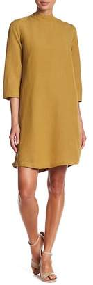 Mo:Vint Mock Neck Linen Blend Shift Dress