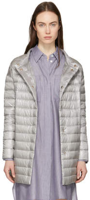 Herno Silver Down Long Cocoon Coat